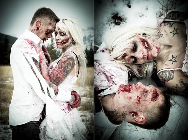 Casamento com temática zumbi: Dannielle e Andrew
