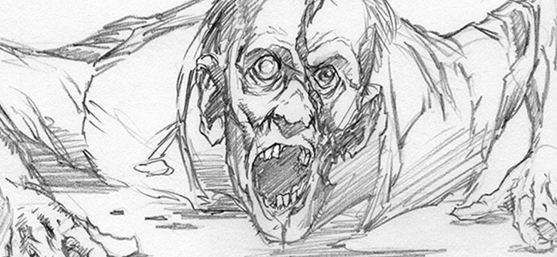 "Storyboards de Greg Nicotero para a cena épica dos zumbis no supermercado no episódio S04E01 ""30 Days Without an Accident"""