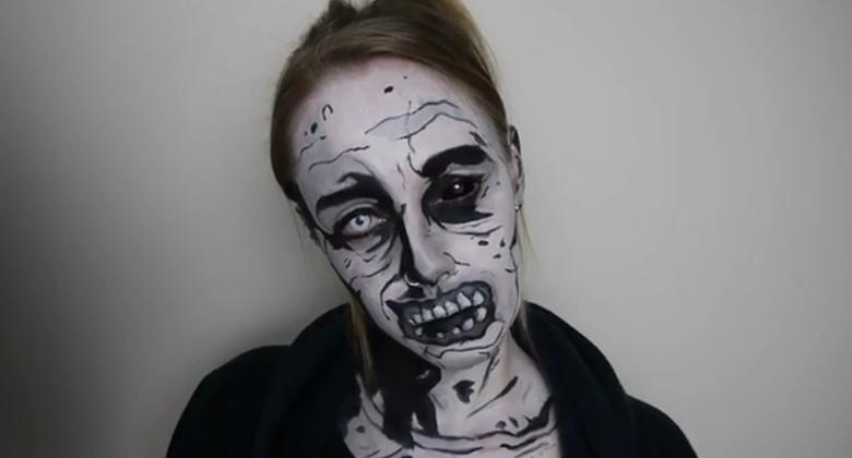 Maquiagem zumbi inspirada nos quadrinhos de The Walking Dead