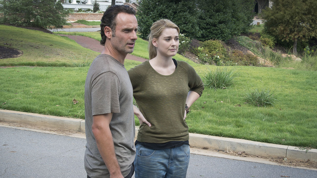 Andrew Lincoln as Rick Grimes and Alexandra Breckenridge as Jessie - The Walking Dead _ Season 5, Episode 12 - Photo Credit: Gene Page/AMC