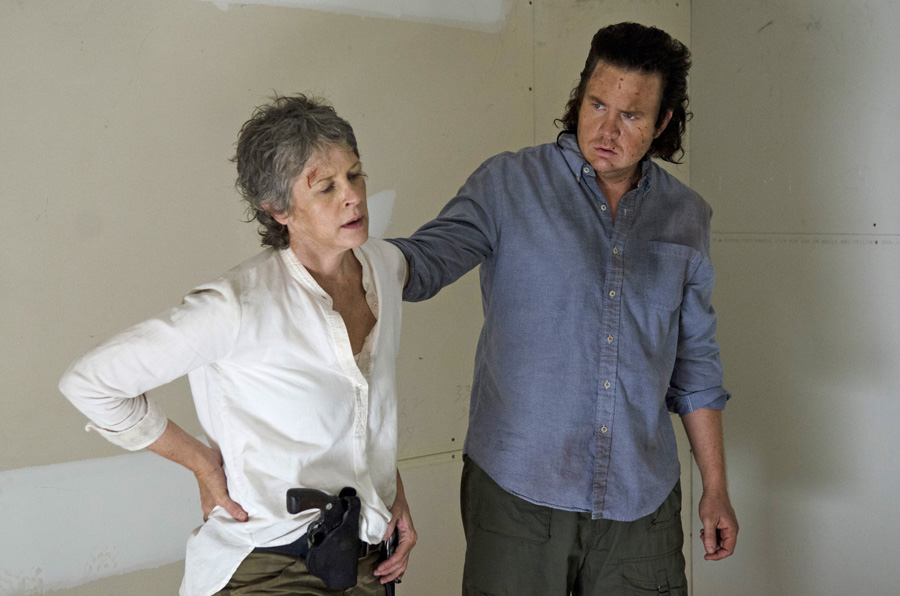 Melissa McBride as Carol Peletier and Josh McDermitt as Dr. Eugene Porter - The Walking Dead _ Season 6, Episode 9 - Photo Credit: Gene Page/AMC