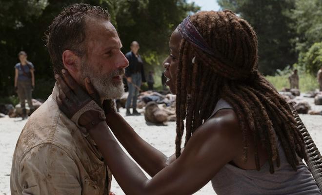 Quando Rick vê Michonne em suas alucinações.