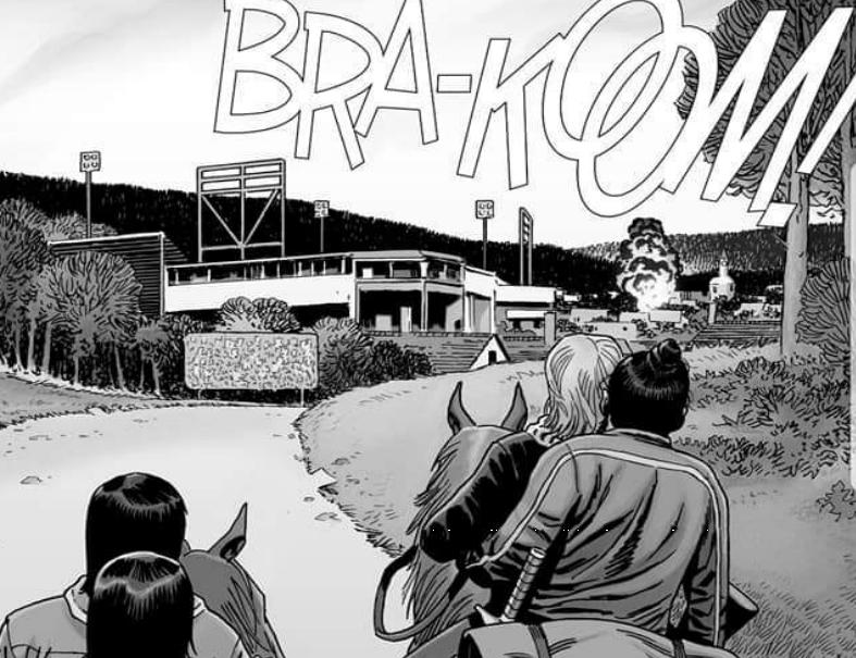Na imagem da edição 189 de The Walking Dead uma explosão é vista no Império pelos sobreviventes vindo de Hilltop.