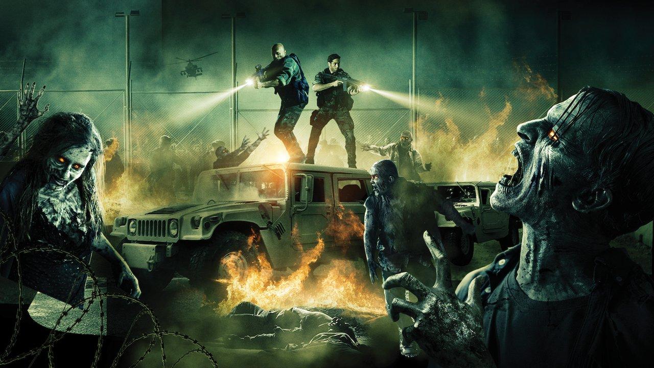 protagonistas do filme Day of the Dead: Bloodline em cima de um carro atirando nos zumbis