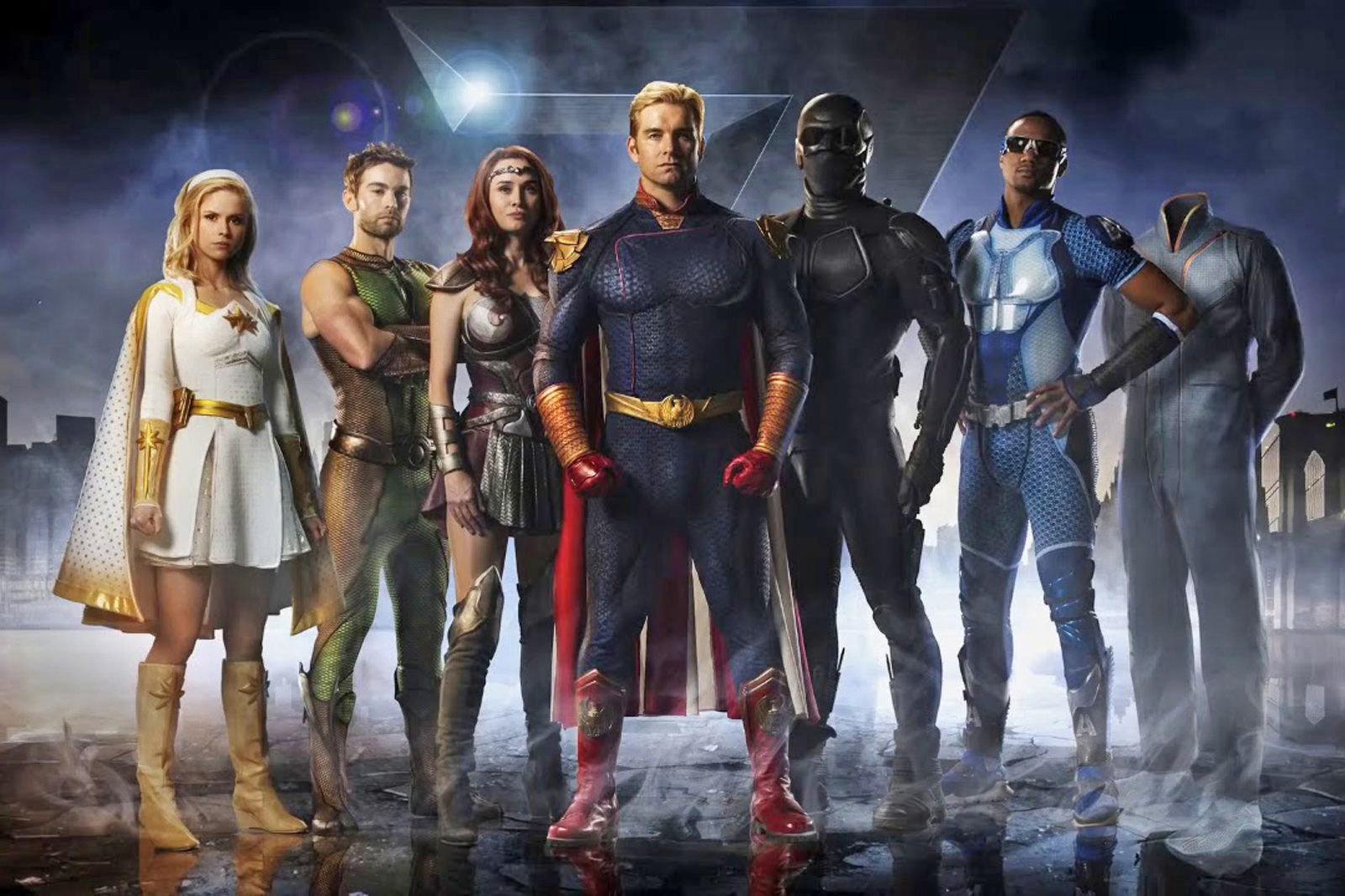 personagens de the boys em imagem promocional da 1ª temporada