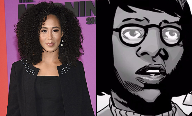 montagem da atriz Margot Bingham com Stephanie da HQ de The Walking Dead