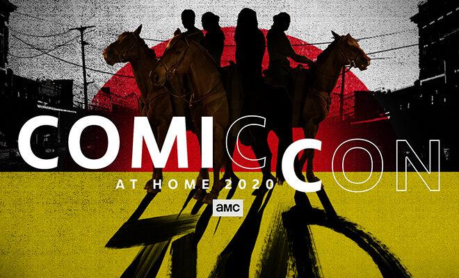 personagens a cavalo em imagem promocional de the walking dead para a Comic-Con @ Home