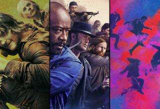 personagens nos pôsteres de The Walking Dead, Fear the Walking Dead e The Walking Dead: World Beyond