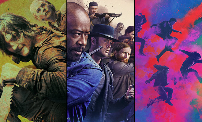 personagens nos pôsteres de The Walking Dead, Fear the Walking Dead e The Walking Dead: World Beyond