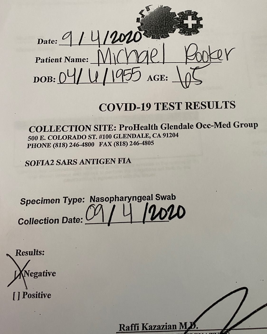 resultado do teste de COVID-19 de Michael Rooker
