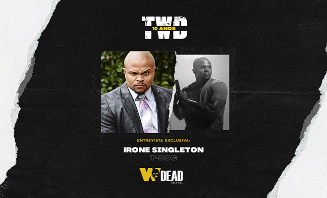 arte com IronE Singleton e T-Dog para comemorar os 10 anos de The Walking Dead