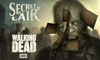 imagem promocional de um zumbi com cartas de Magic para celebrar a parceria entre The Walking Dead e Magic: The Gathering