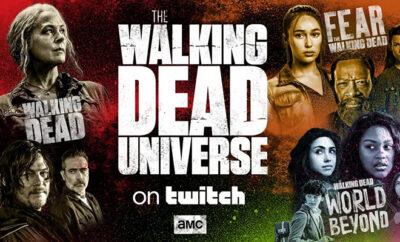 personagens de the walking dead, fear the walking dead e world beyond reunidos em imagem promocional do lançamento do canal oficial na Twitch