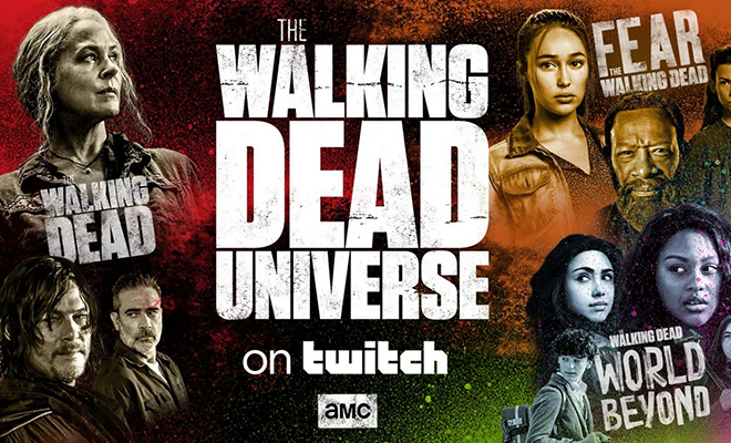 personagens de the walking dead, fear the walking dead e world beyond reunidos em imagem promocional do lançamento do canal oficial na Twitch
