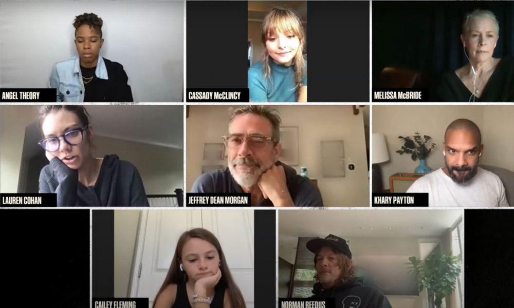 Lauren Cohan (Maggie), Jeffrey Dean Morgan (Negan), Melissa McBride (Carol), Norman Reedus (Daryl), Angel Theory (Kelly), Cassady McClincy (Lydia), Cailey Fleming (Judith) e Khary Payton em vídeo chamada fazendo leitura do roteiro de The Walking Dead