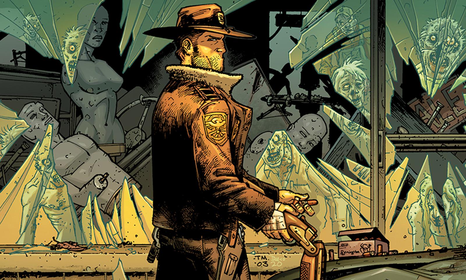 rick grimes armado na capa da versão colorida da edição 1 da HQ de The Walking Dead