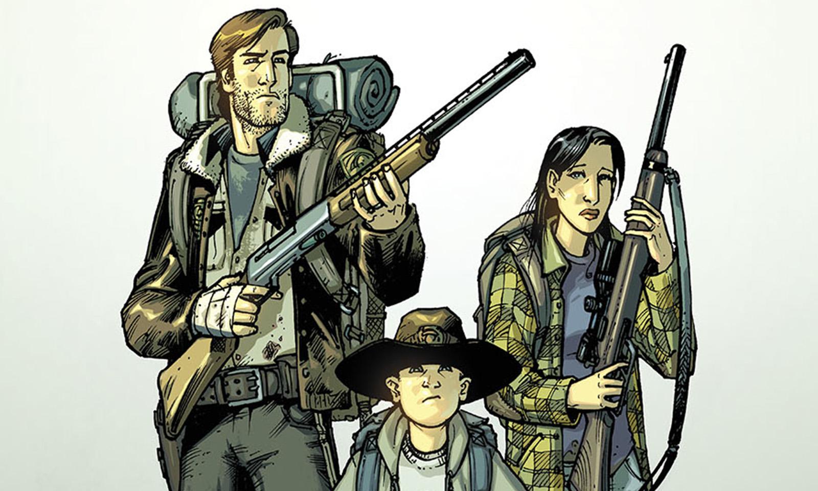 Rick, Lori e Carl juntos e armados na capa da versão colorida da edição 3 da HQ de The Walking Dead