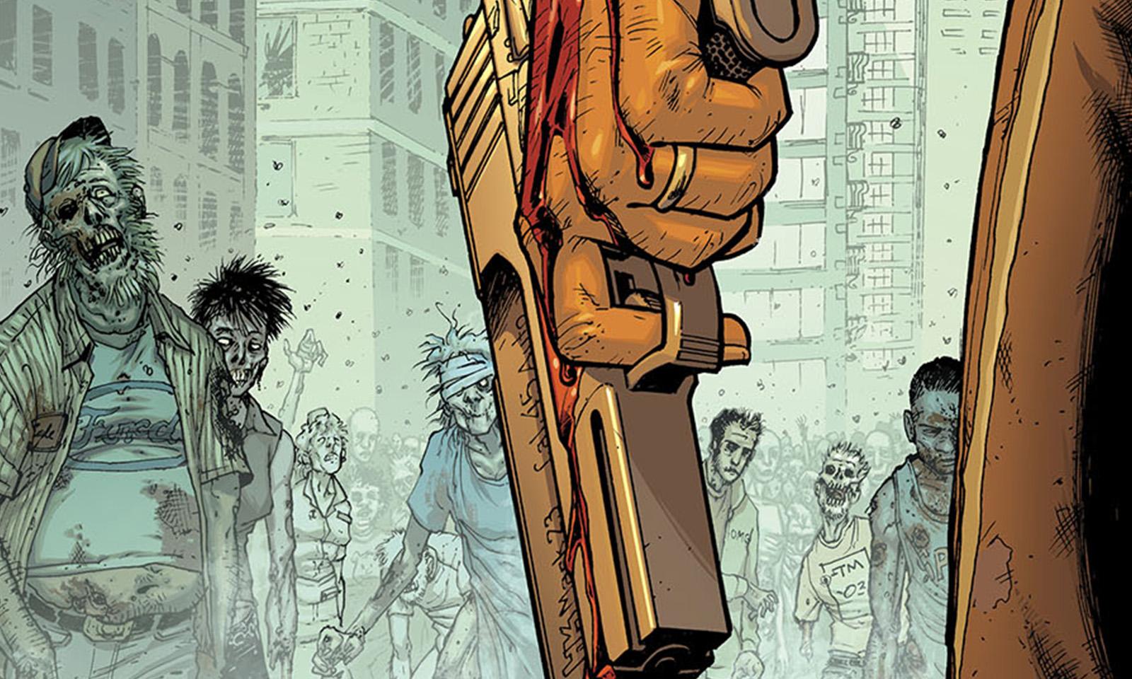 Uma mão ensanguentada segurando uma arma encara uma horda de zumbis na capa da versão colorida da edição 4 da HQ de The Walking Dead