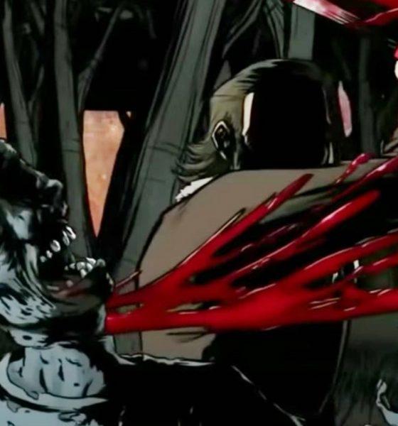 rick grimes matando um zumbi na animação de The Walking Dead Red Machete
