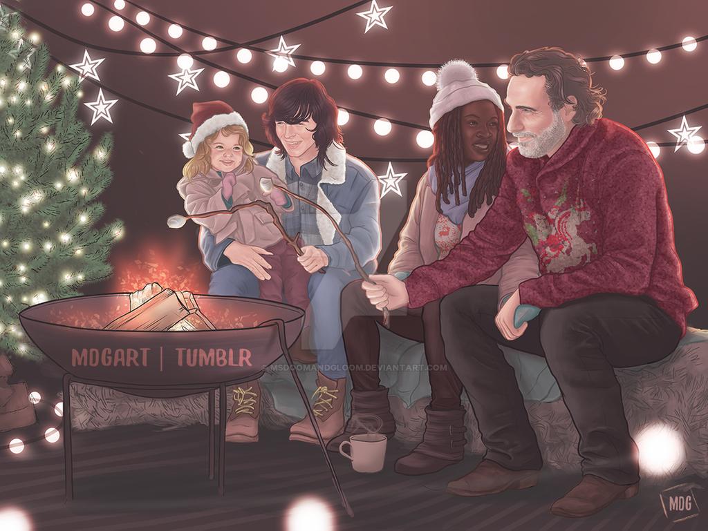 Arte feita por fã de The Walking Dead com Rick, Michonne, Carl e Judith comemorando o Natal