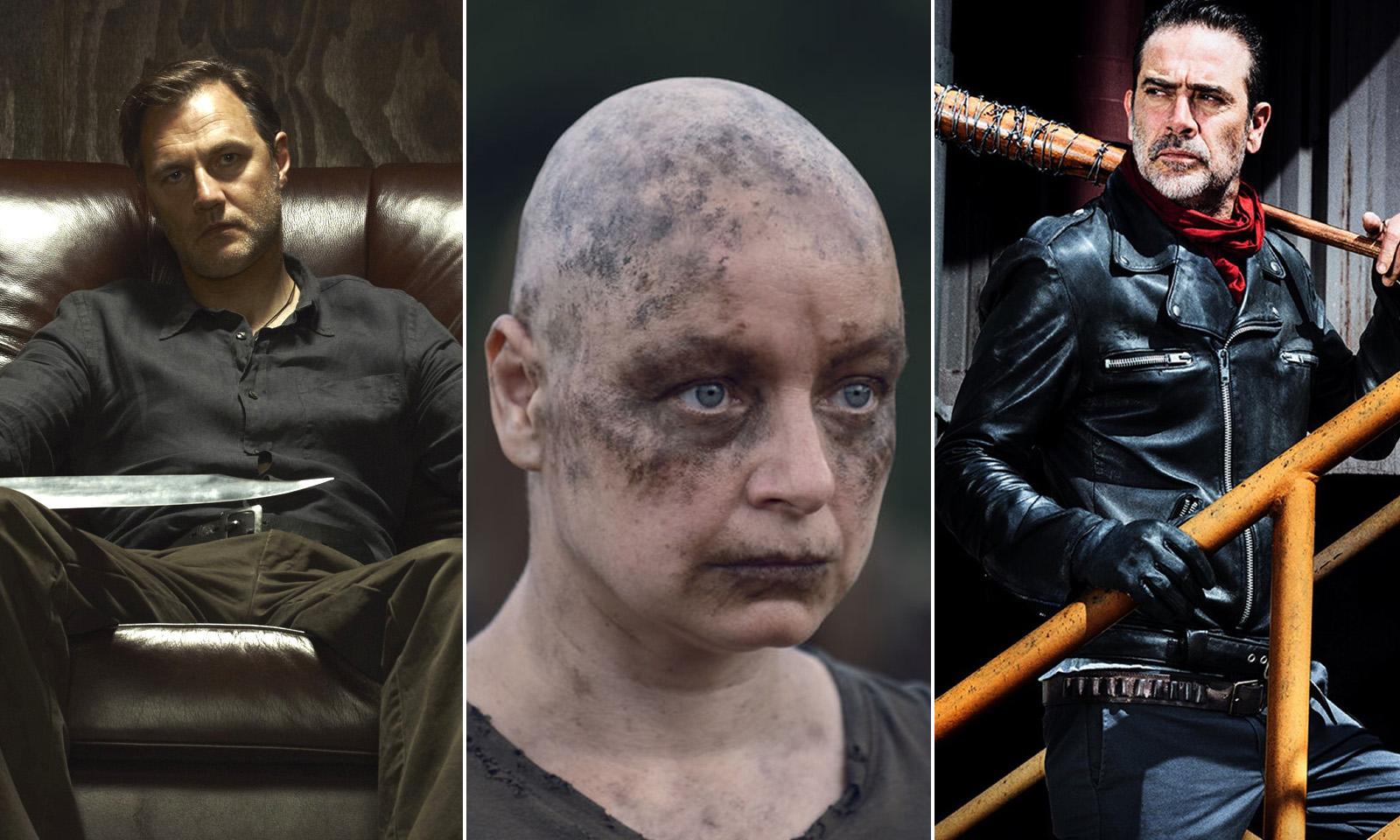 Montagem com os vilões de The Walking Dead - Governador, Alpha e Negan