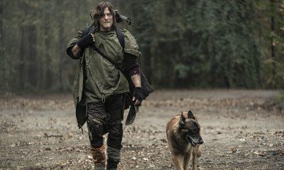 Daryl e Cachorro caminhando em imagem do episódio Find Me da 10ª temporada de The Walking Dead