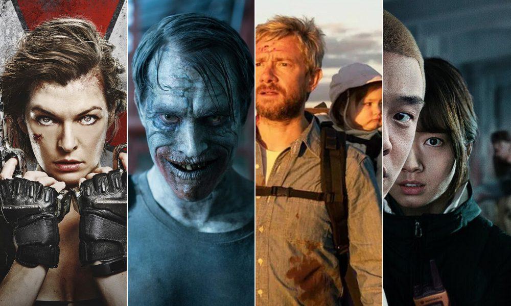 montagem com imagens dos filmes Resident Evil: O Último Capítulo, Day of the Dead: Bloodline, Cargo e #Alive