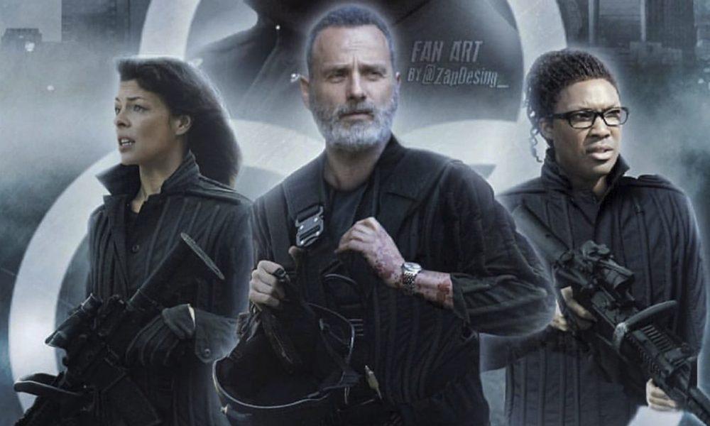 Arte de Fã reunindo Rick, Jadis e Heath armados nos filmes de The Walking Dead