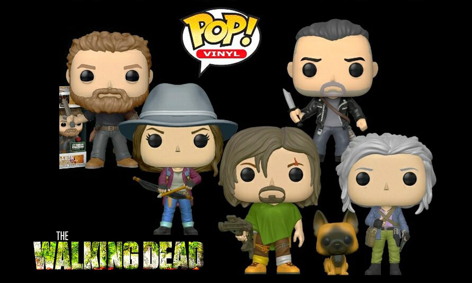 Montagem com os funko de The Walking Dead da Série 10 - Aaron, Maggie, Daryl e Cachorro, Negan e Carol