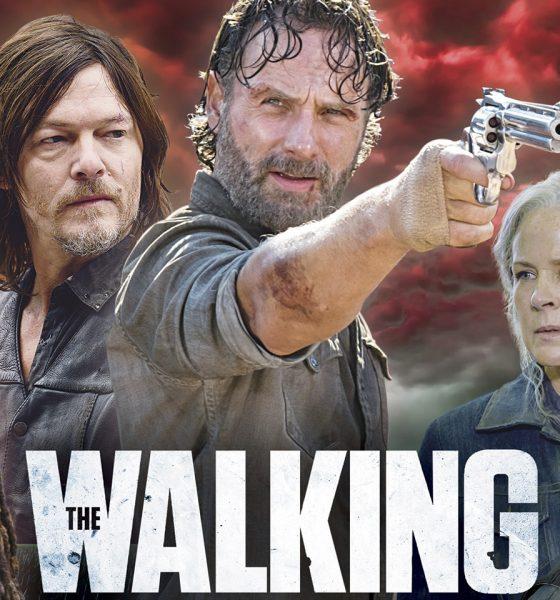 Negan, Michonne, Daryl, Rick, Carol e Morgan na capa da The Walking Dead: The Ultimate Survival Guide da TV Guide Magazine
