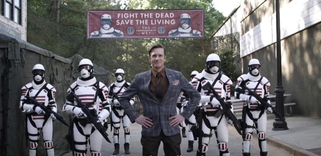 Lance e os soldados de Commonwealth em imagem do trailer da 11ª temporada de The Walking Dead.