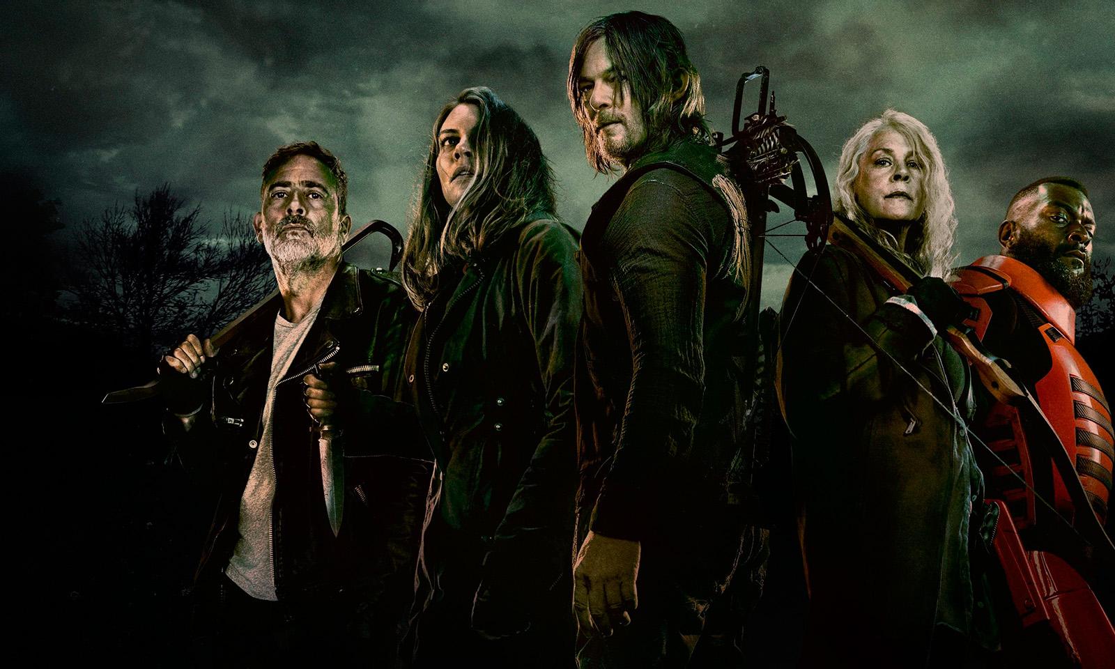Daryl, Carol, Maggie, Negan e Mercer reunidos na arte de divulgação da 11ª temporada de The Walking Dead