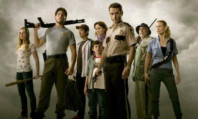 Rick, Carl, Lori, Glenn, Shane, Amy, Dale e Andrea reunidos em imagem promocional da 1ª temporada de The Walking Dead.