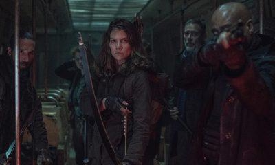Cole, Agatha, Maggie, Negan e Gabriel dentro do metrô no episódio 2 da 11ª temporada de The Walking Dead.