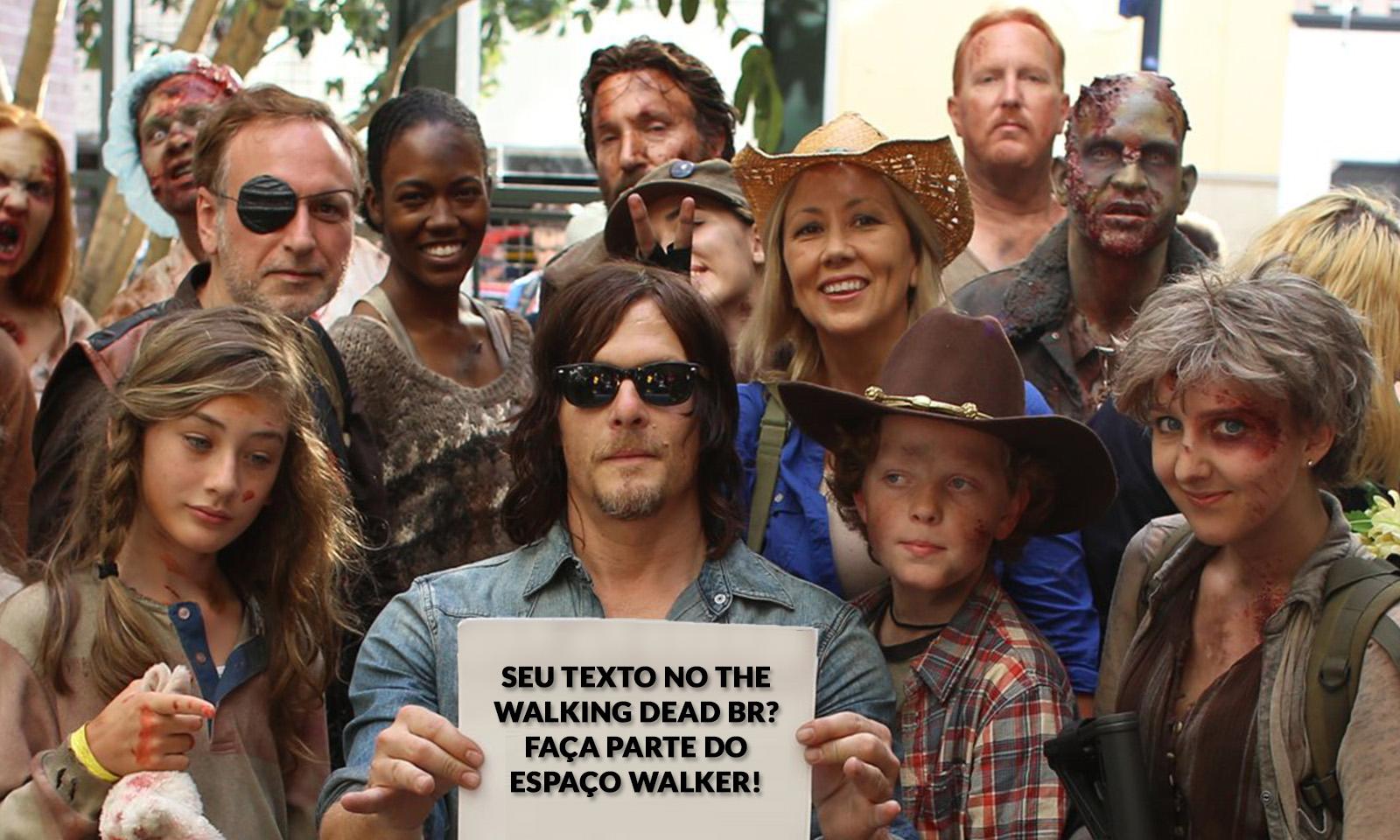 Norman Reedus ao lado de fãs de The Walking Dead usando cosplays dos personagens da série de TV.