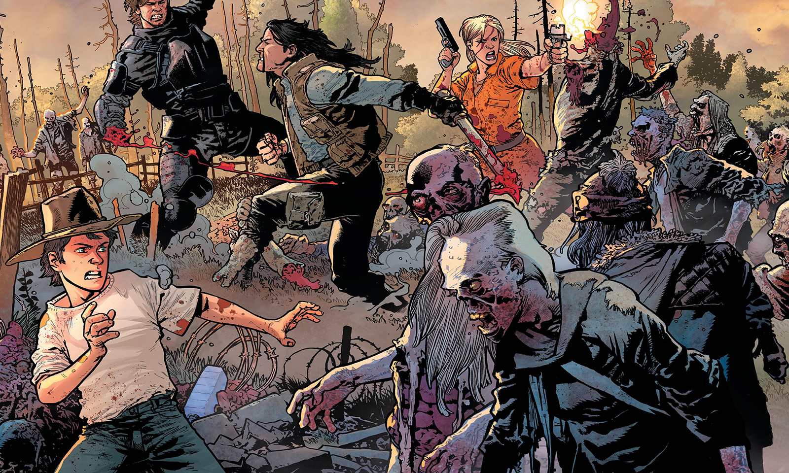 Rick e o grupo da prisão enfrentando o Governador e vários zumbis nas capas variantes da The Walking Dead Deluxe.
