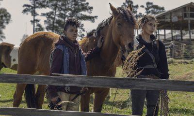 Kelly e Magna segurando um cavalo no episódio 3 da 11ª temporada de The Walking Dead.