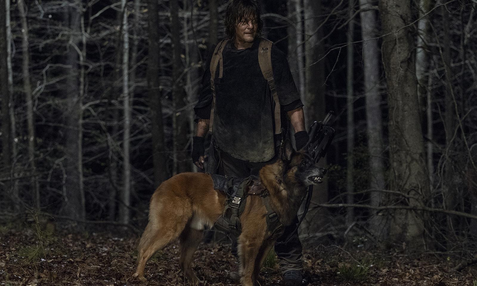 Daryl e Dog encarando algo ou alguém no episódio 4 da 11ª temporada de The Walking Dead.