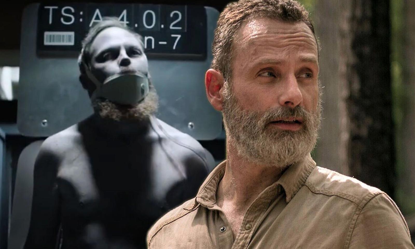 Montagem com Rick Grimes e uma cena da 2ª temporada de The Walking Dead World Beyond