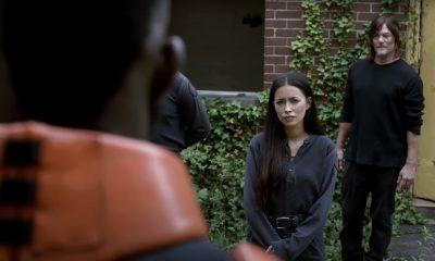 Daryl, Rosita conhecendo Mercer na segunda parte da 11ª e última temporada de The Walking Dead.