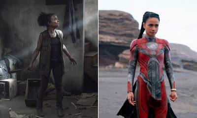 Montagem com foto de Connie em The Walking Dead e Makkari Eternos.