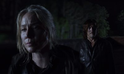 Leah e Daryl observando o caos em Meridian no episódio 8 da 11ª temporada de The Walking Dead.