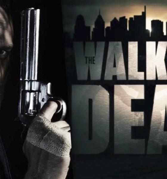 Montagem com Rick Grimes e a logo dos filmes de The Walking Dead que apareceu no teaser promocional oficial.